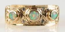 LARGE 9CT 9K GOLD VICTORIAN INS AUSTRALIAN OPAL & DIAMOND BAND RING