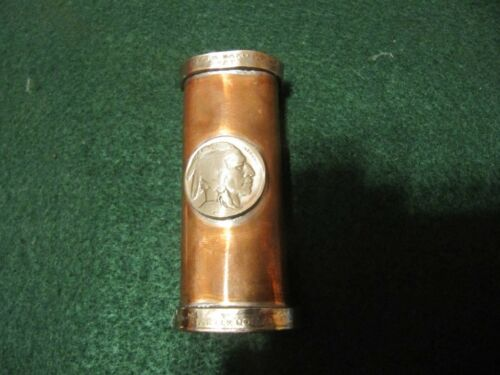 HAND HAMMERED COPPER LIGHTER CASE BUFFALO NICKEL AND STATE QUARTER COIN RINGS!