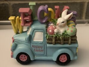 Resin Welcome Easter Bunny With Eggs In Blue Truck Decoration -GER 2472430