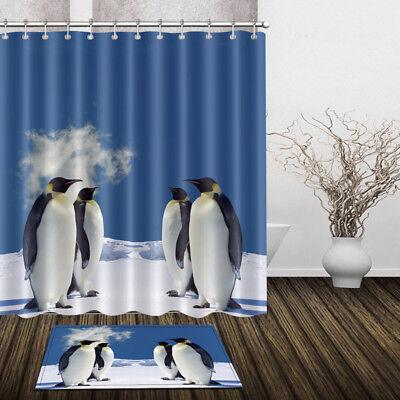 Shower Curtain Penguin Family Polyester Waterproof Fabric Bathroom Mat Bath Rugs