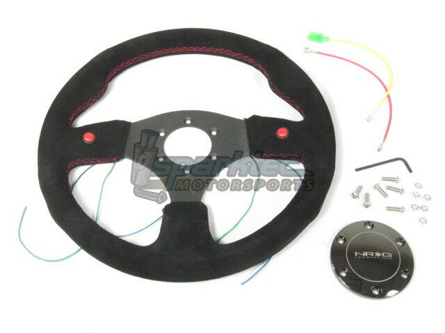 NRG ST-007S Two-Button Series 320mm Sport Black Suede Steering Wheel