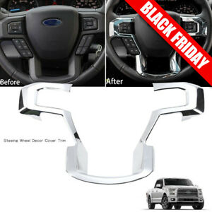 Black Wood Grain JeCar Steering Wheel Trim Bezel Cover Trim Frame Decorative Interior Accessories for Ford F150 F250 F350 2015 2016 2017 Super Duty