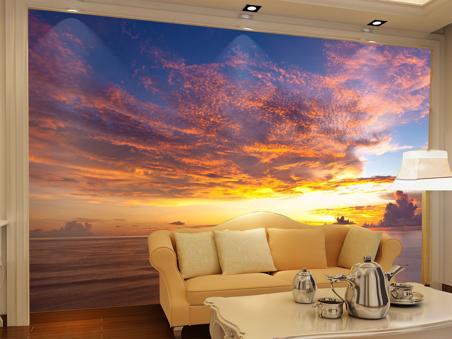 3D Clouds Sunset 039 Wall Paper Wall Print Decal Wall AJ WALLPAPER CA