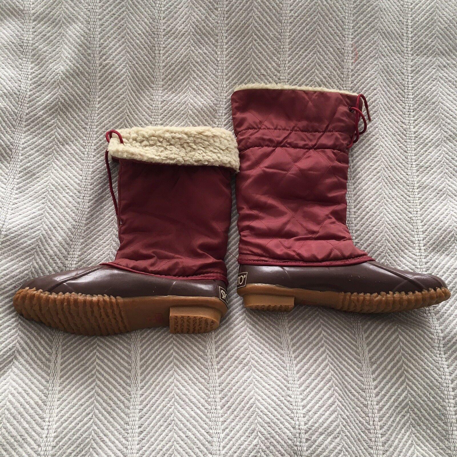 Vintage Sporto Quilted Fleece Lined Tall Duck bottes Sz 7 Korea EUC