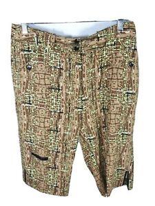 JAMIE SADOCK Womens Bermuda Long Golf Shorts Size 8 Multicolor Abstract Natural