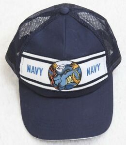 20dd7ec66 Navy Blue White Hat Cap Adjustable Snapback One Size Fits All Cotton ...