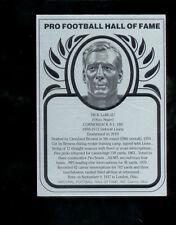 HOF Metallic DICK LEBEAU Pittsburgh Steelers Lions Hall of Fame Metal Card
