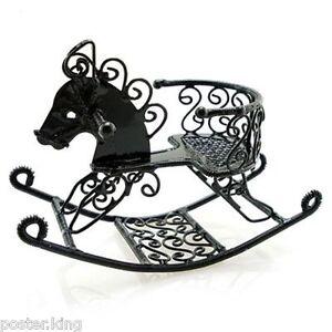 Black-Metal-Wire-Nursery-Rocking-Horse-1-12-Dolls-House-Dollhouse-Miniature