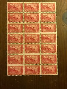 US-Stamps-Scott-618-Mint-OG-Sheet-Block-of-21-Just-4-H