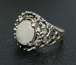 Sterling-Silver-925-Women-039-s-5-05-CT-Genuine-Moonstone-Ladies-Filigree-Ring-Sz-6