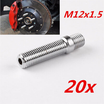 20x 58mm Extended Car Wheel Studs M12x1.5 to M12x1.5 Forged Steel Screw Adapter