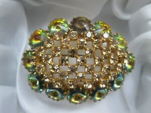 Vintage-Sparkly-Rivoli-Green-Topaz-Brown-Gold-Tone-Metal-Statement-Brooch-Pin-AF