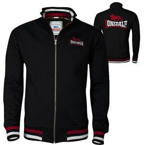 Lonsdale DOVER Black Zip Jacket Sweatshirt Embroidered Back Logo Regular Fit