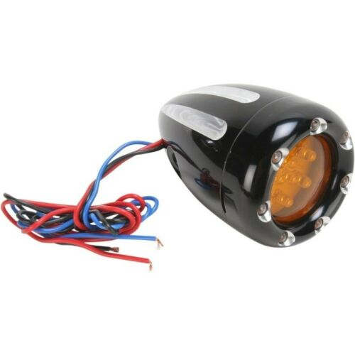 Arlen Ness 12-765 Black Deep Cut Amber Lens Turn Signal /& LED Trim Ring Harley