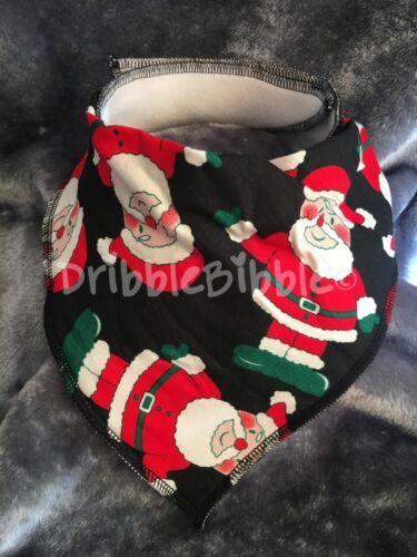❤ Baby Child Dribble Bib Catcher Dry Bandana Girl Boy Dog ❤ Black Santa xmas ❤