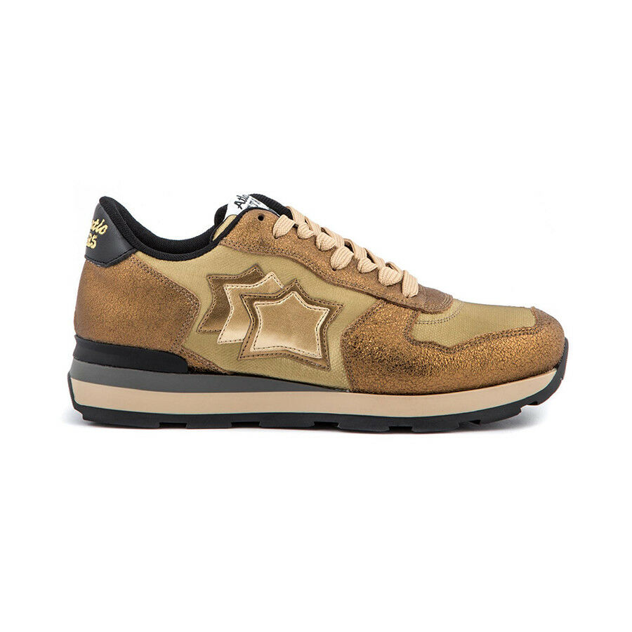 ATLANTIC STARS woman sneakers gold nylon and leather VEGA OB-79N MADE IN ITALY