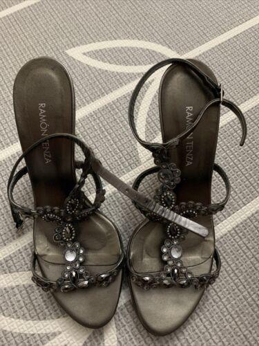 RAMON TENZA Strappy Swarovski Crystal Sandals Heel