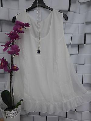 Doppellagig NEU Sheego Shirt Chiffon Bluse Gr 852 40-56 Kurzarm weiß