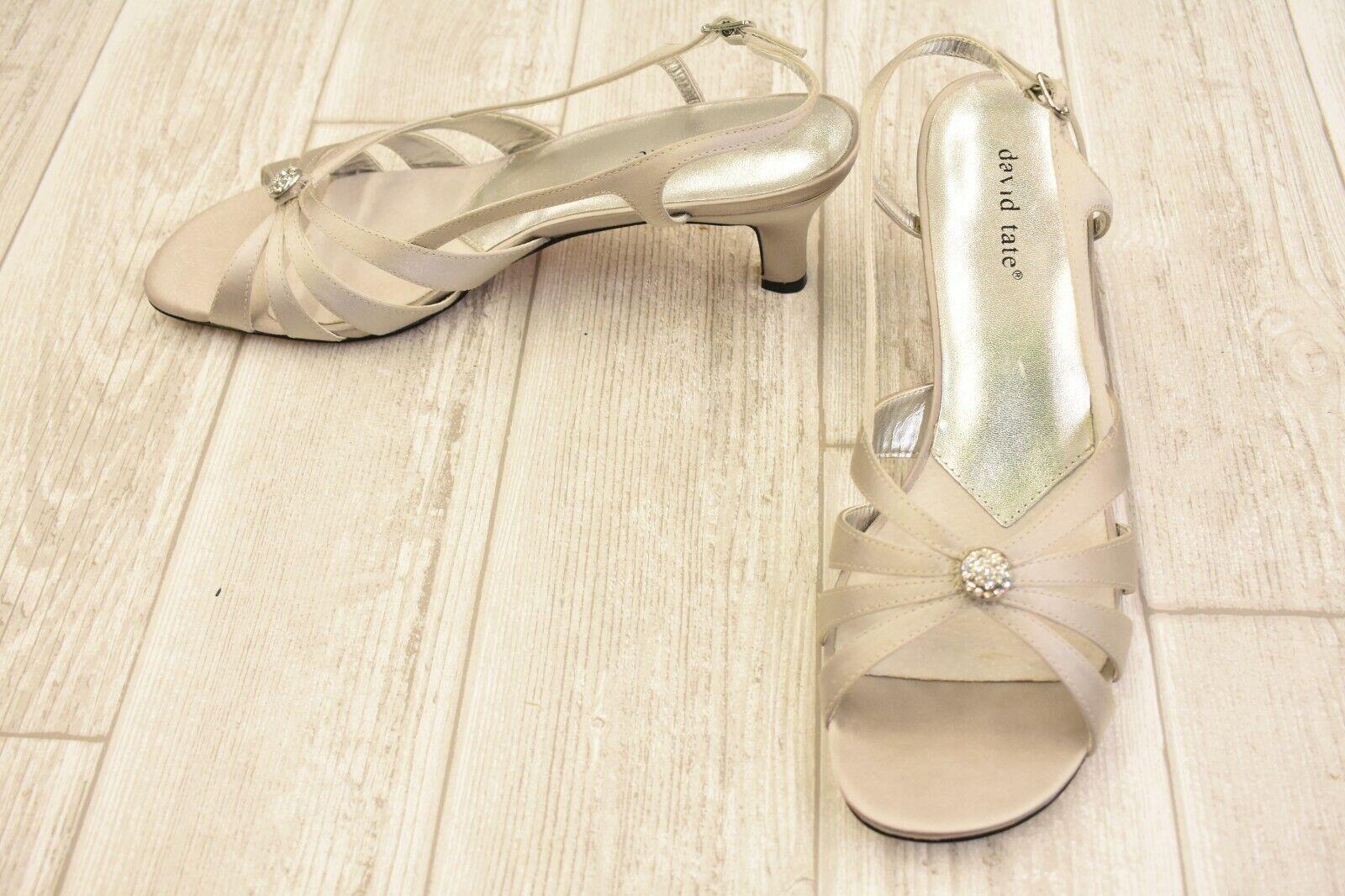 David Tate pinktte Satin Satin Satin Dress Sandals, Women's Size 10M, Silver f606f3