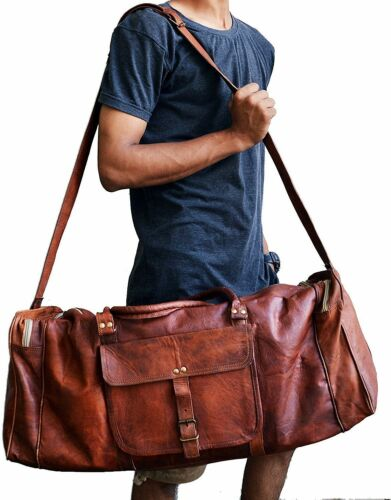 """25/"""" Men/'s Real Leather Outdoor Gym Duffel Bag Travel Weekender Overnight Luggage"""