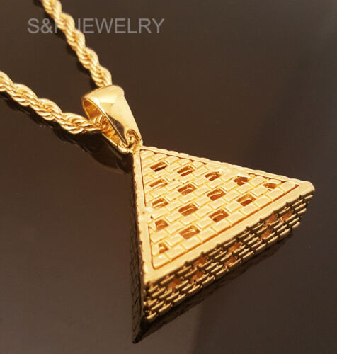 "Men Hip Hop 14k Gold Plated Eye of Horus Egypt Pyramid Pendant /& 30/"" Rope Chain"