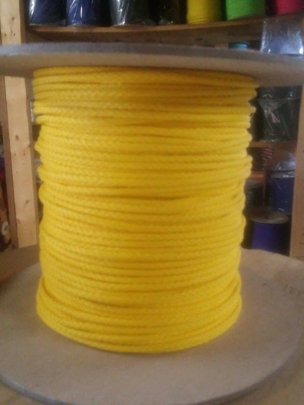 1 8  x 1000 ft.(2 lengths) Polyethylene Rope Spool. Yellow. Made in USA