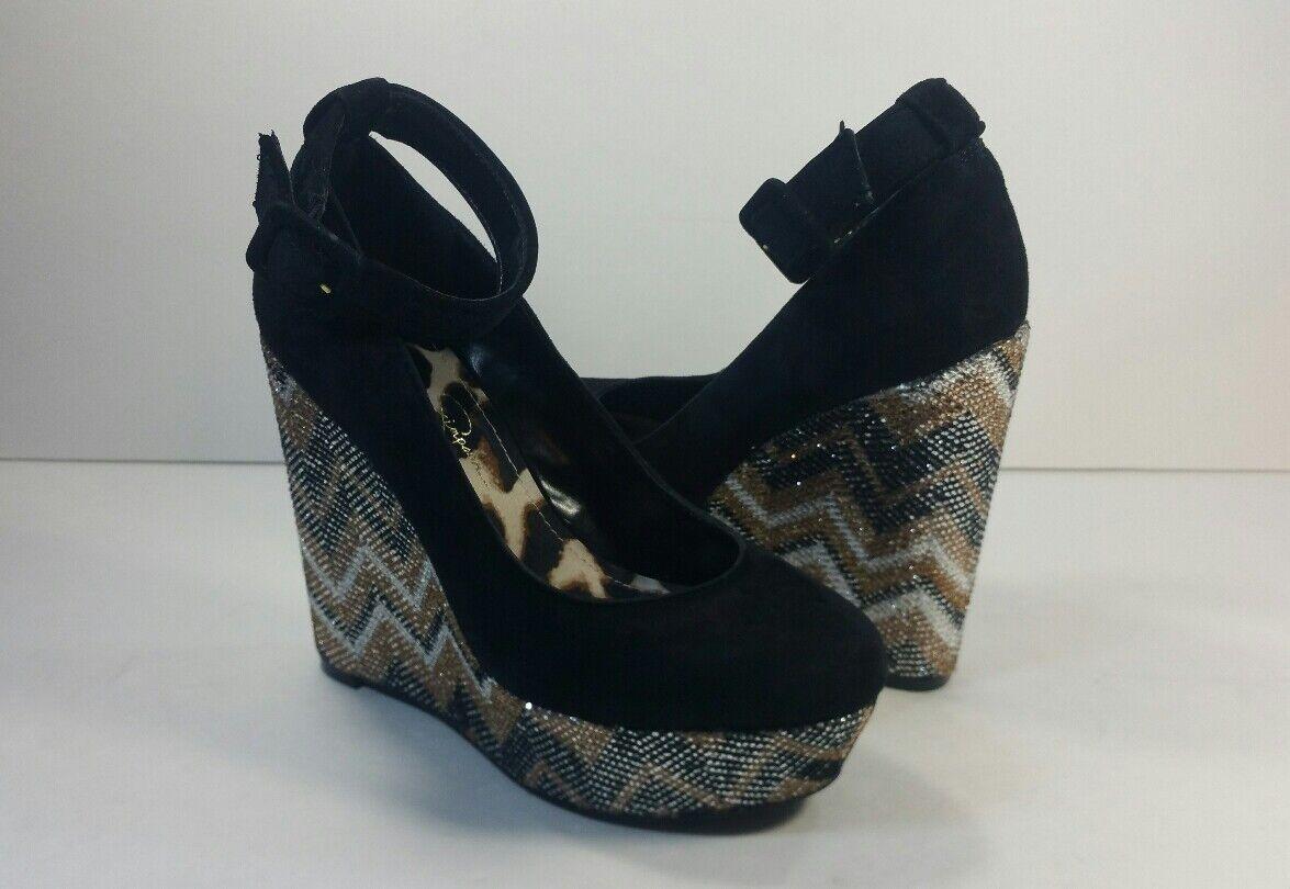 Jessica Simpson Negro Correa De Tobillo Bling Bling Plataforma Cuñas-tamaño Cuñas-tamaño Cuñas-tamaño 6B  marca de lujo