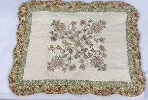 Home-Expressions-Beige-Floral-Pillow-Sham-Pink-amp-Green-Flowers