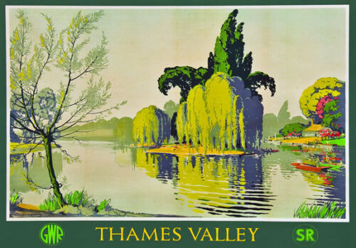 "TT82 Vintage Thames Valley GWR Railway Travel Poster Print A3 17/""x12/"""