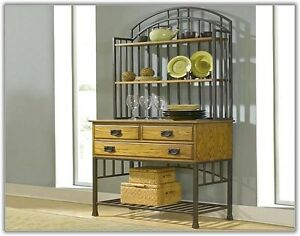 bakers rack with drawers storage hutch buffet kitchen racks metal wood shelves ebay. Black Bedroom Furniture Sets. Home Design Ideas