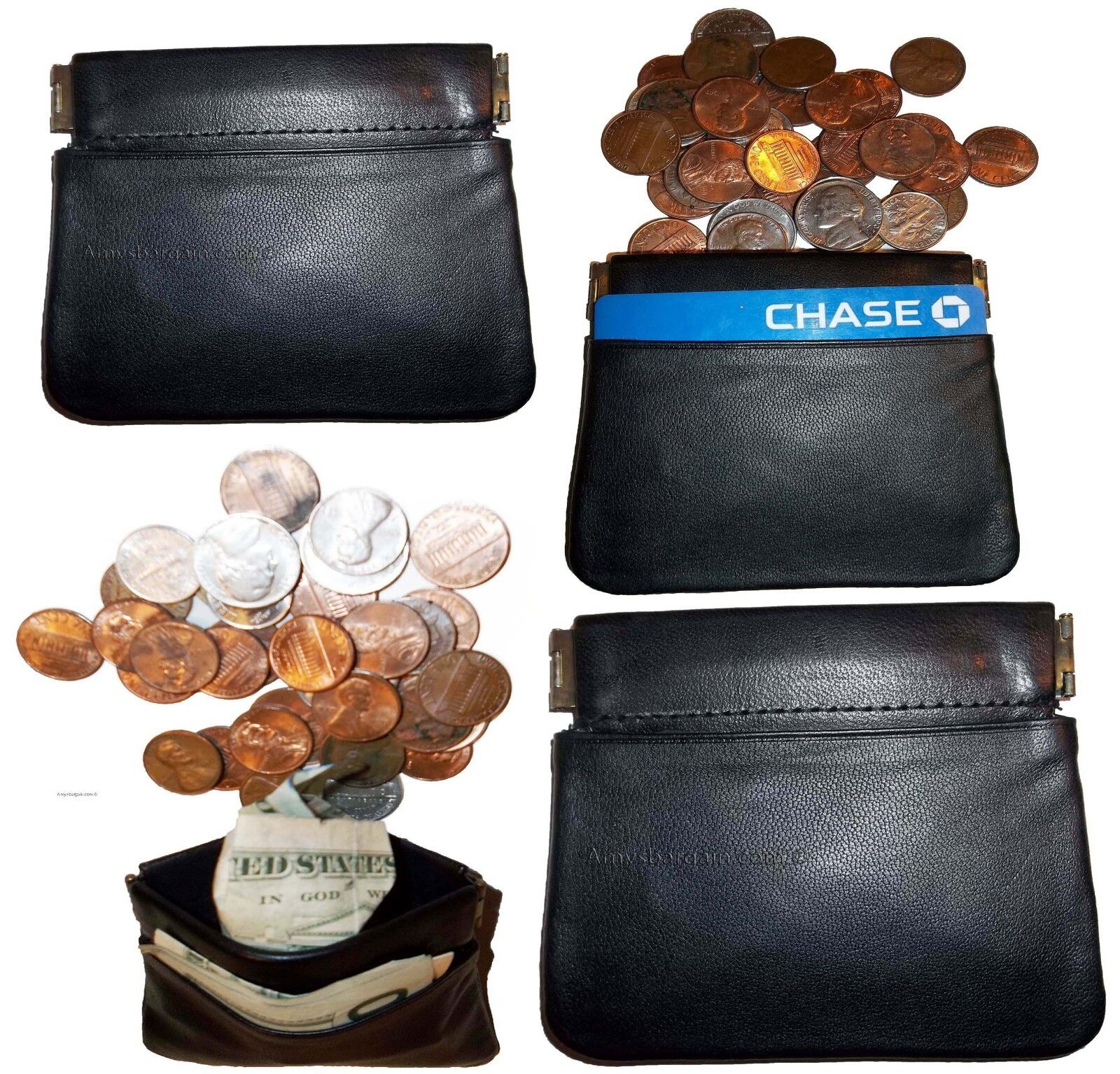 Lot of 4 New Leather Squeeze change purse metal framed squeeze Coin Change Case