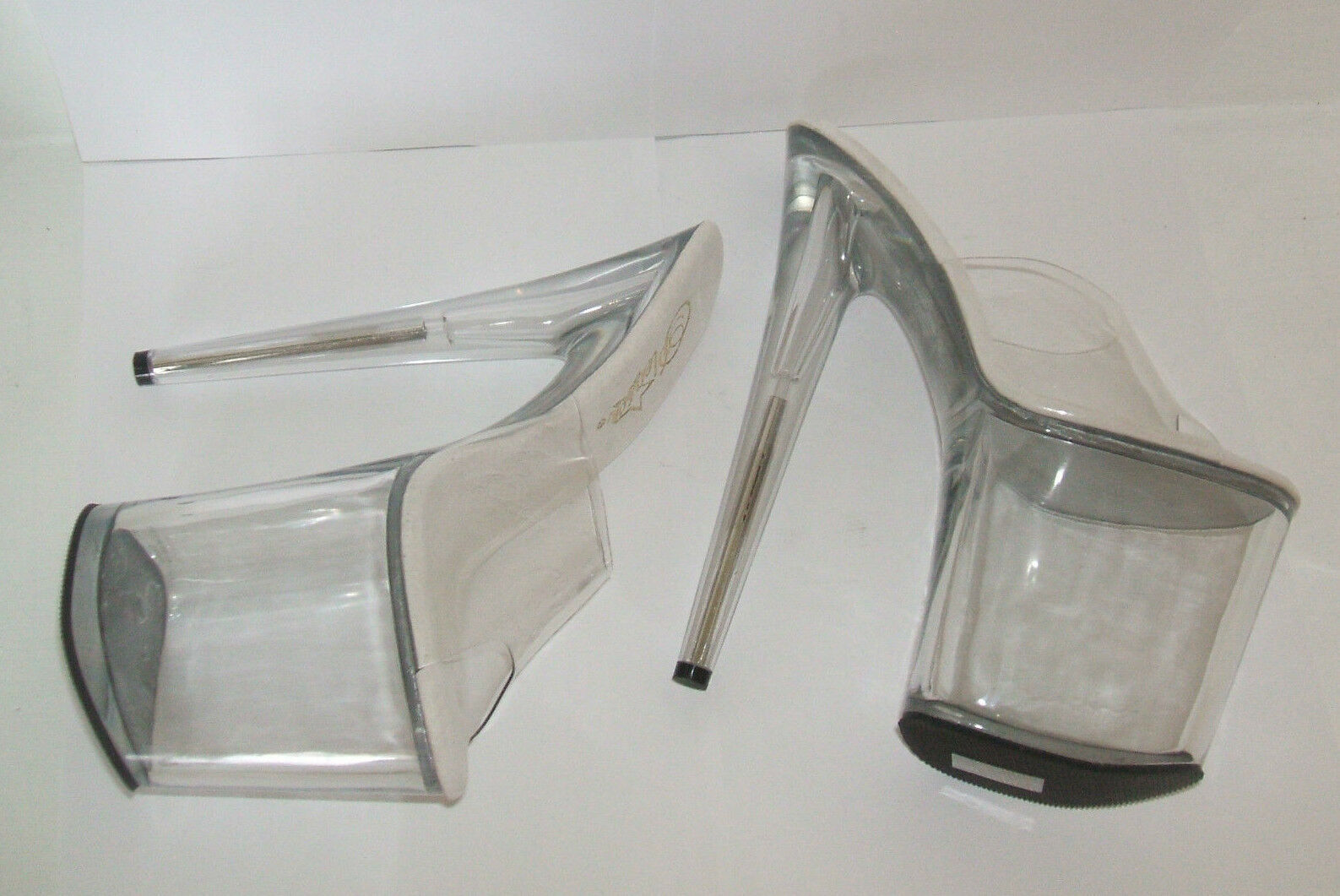 PLEASER SIZE 2 2.5 3 FLAMINGO 801 CLEAR PERSPEX SEXY FETISH 8