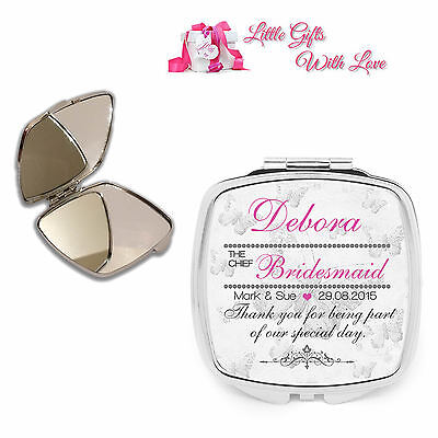 Personalised Chief Bridesmaid Compact Mirror Wedding Favour Thank You Gift Morbido E Antislipore