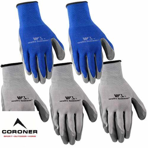 5 Pack Wells Lamont Nitrile Work Gloves Large ,Grey 580LA
