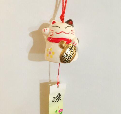 Japanese Porcelain Lucky Cat Maneki Neko Wind Chimes Bring Blessing