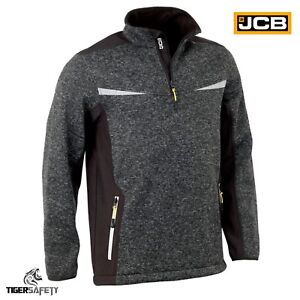JCB-Elmhurst-II-1-4-Zip-Mens-Sweatshirt-Knitted-Jumper-Soft-Shell-Fleece-Jacket