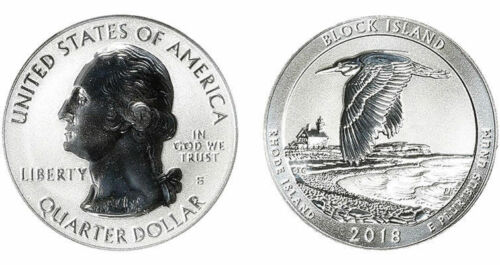 PCGS PR70 2018-S Block Island NP Silver Reverse Proof Quarter b415