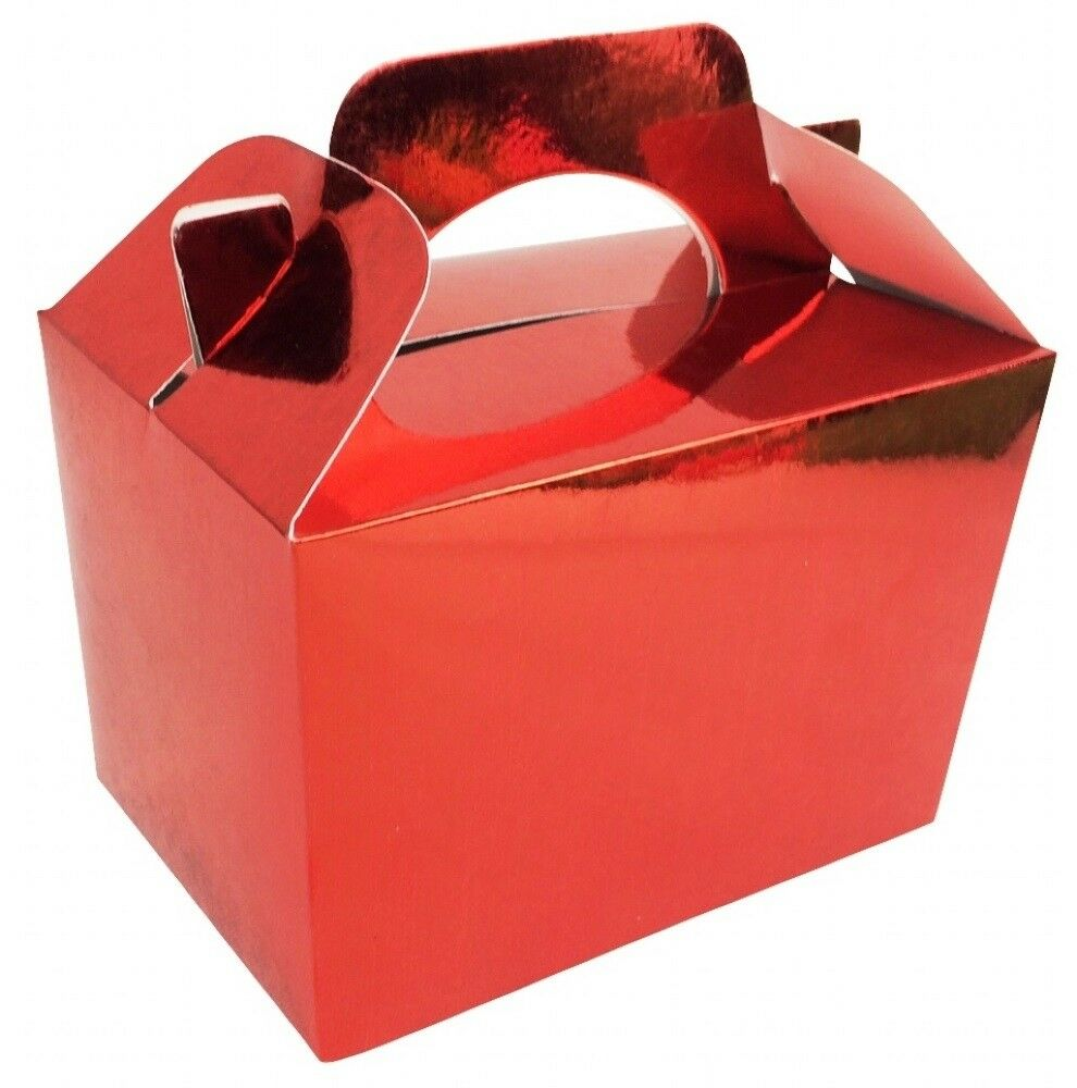 100 Shiny Metallic Red Boxes-Christmas Recyclable Food Gift Party Meal Box Xmas