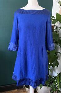 Hobbs Dress UK 12 Blue Wool Silk Trim Shift 1960s Style Knee Length Pockets
