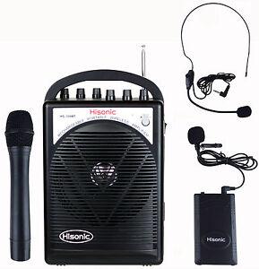hisonic hs120bt portable speaker system with wireless microphones ebay. Black Bedroom Furniture Sets. Home Design Ideas