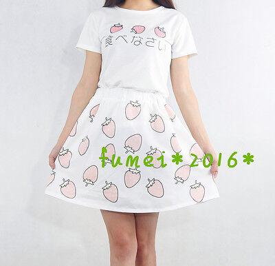 Girls Lolita Kawaii Costume Strawberry Sweet Summer Day T-shirt tops + Skirt