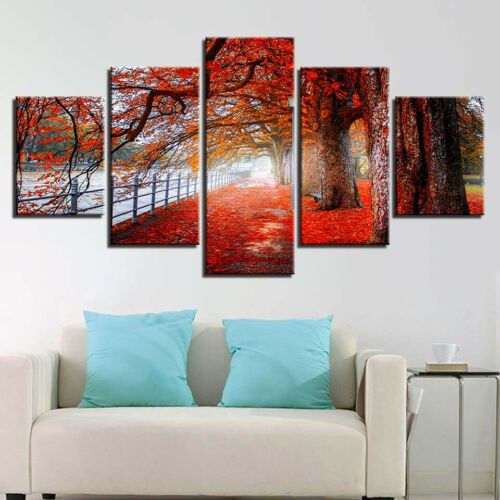 Nature Landscape Red Trees Forest Sunshine Canvas Prints Painting Wall Art 5PCS