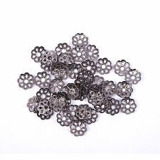 500Pcs Filigree Flower Cone End Bead Cap Gold,Silver,Bronze,Copper,Black 6mm