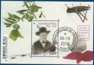 Bloc-feuillet-F4980-Jean-Henri-Fabre-de-2015-oblitere-LUXE