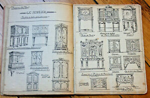 c1900-manuscript-wood-carver-notebook-building-furniture-illustrations-drawings