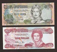Bahamas 1/2 Dollar  And $3 Dollar Uncriculated Set
