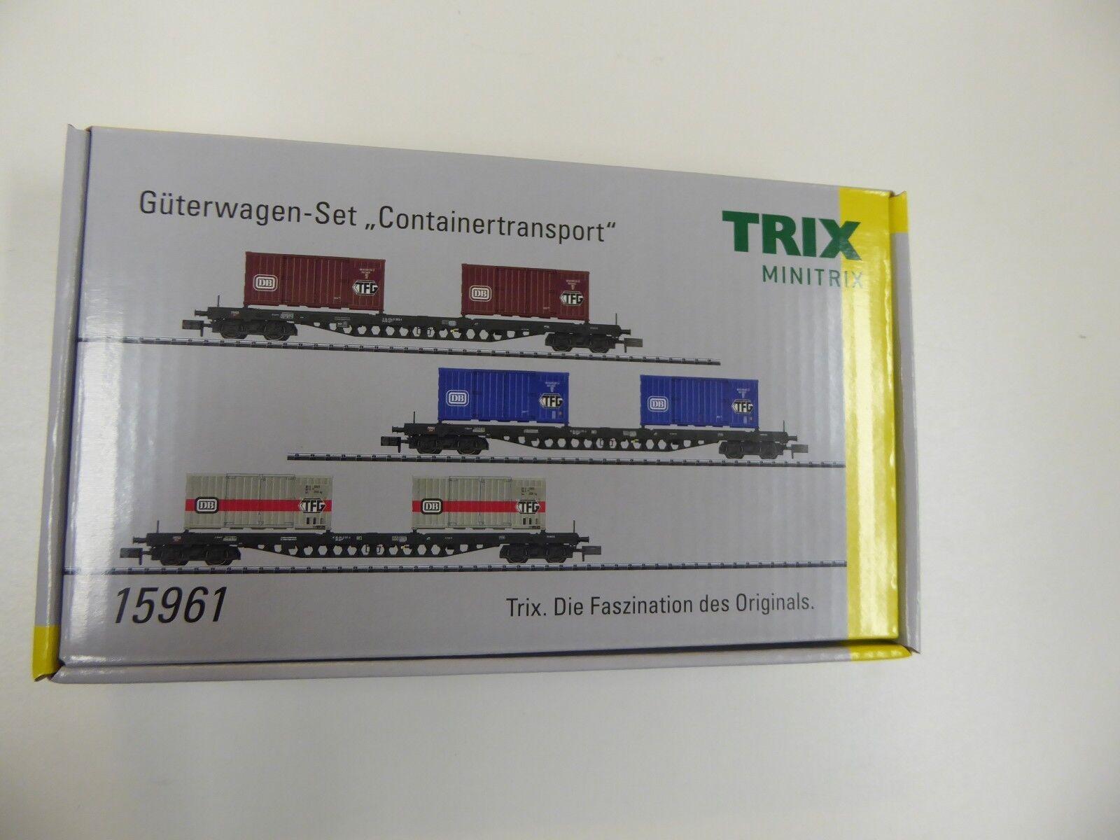 Minitrix 15961 vagones-set  contenedores de transporte  DB epochei IV mercancía nueva