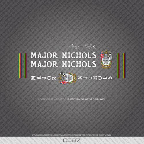 0567 Major Nichols Bicicletta Telaio Adesivi-Decalcomanie-Transfers