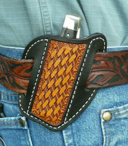 Medium-Leather-Cross-Draw-Pocket-Knife-Sheath-Ruff-s-Saddle-Shop-Black-amp-Tan