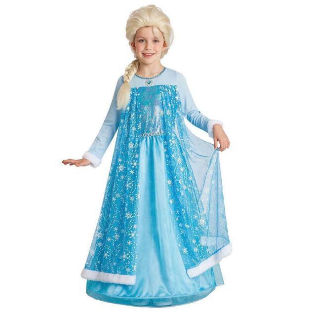 New Winter Princess Gown Disney Elsa Frozen Dress Girl Costume Sz